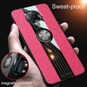 Slim Sweat-Proof Tissu Tissu anneau magnétique Béquille cas pour Xiaomi redmi K30 Remarque Pro 8 Pro Note7 Mi 10 Pro MI9 redmi 8