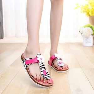 Direct factory Women cork slippers good quality leather shoes for ladies girls with flower free DHL FEDEX TNT UPS drop price discount