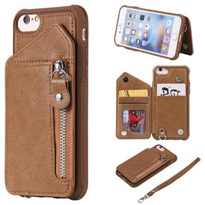 For iPhone 6 6S Case Zipper Humanized Card Slot Design Cover Double buckle Stand shockproof For iPhone 7 8