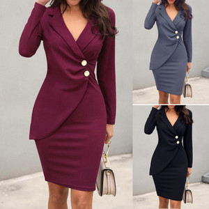 MarchWind Brand Designer Women Office Sexy Solid Turn Down Neck Long Sleeve Buttons Bodycon Work Formal Dress Freeship Wholesale