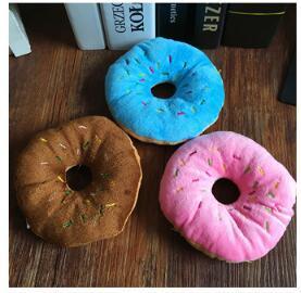 Tri-couleur beurre de beigne en option Donut voix mignon animal de compagnie jouets pour chiens en peluche de jeu fournitures pour animaux 30pcs / lot L244
