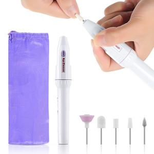 NA010 maniglia Nail Trapano elettrico file della macchina 5 Bit Nail Punte della penna di Pedicure del manicure del polacco del gel Rimuovere File Buffer Kit Drill