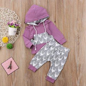 Baby Boys Cooked Rompers + брюки набор олень Печать FAL 2021 Детская бутическая одежда 0-2т