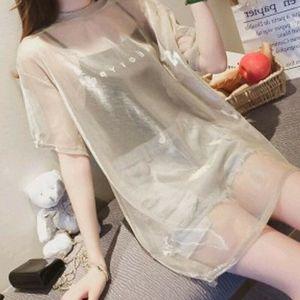 2PCS 여성 투명 메쉬 T 셔츠 짧은 소매 티 + 캐미솔 조끼 탑 캐주얼 크루 넥 신축성 T 셔츠를 커버 탑