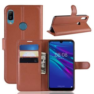 Para el caso del Samsung Galaxy A01 A30 A20 A50 Huawei Y6 2019 Xiaomi 9 Explorador 9SE Litchi Monedero de cuero del soporte de lujo 1pcs tarjeta Leechee piel de la cubierta