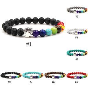7 perles de pierre naturelle Chakra Bracelet pour femmes hommes chat griffe de chien charme oeil de tigre turquoise équilibre de guérison yoga perles bracelet bricolage bijoux