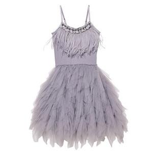 Joyhopy 플라워 여자 드레스 패션 깃털 Tassels 여자 웨딩 파티 드레스 여자 공주 드레스 의류 2-7 Y19061501