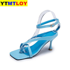 Women Summer Thin High Heels Sandals Shoes Woman Flip Thong Pu Leather Party Sandalias Cross-strap Casual Buckle Strap Open