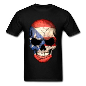 100% Cotton Puerto Rican Flag Skull Family Cool T Shirts Vintage 3d Cartoon Tees Shirt Men's Top Clothes Letter Printing