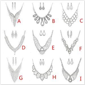 Set di gioielli di moda di lusso multistrato nappa strass orecchini di cristallo collana set orecchino choker delle donne set per la festa e le nozze