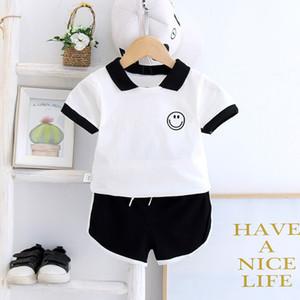 Baby Boys Girls Summer Kids Clothes Set Face мультфильм спортивный спортивный костюм хлопчатобумажная футболка шорты 2 шт. наряд повседневная Детская одежда