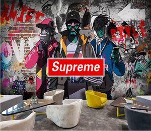 adesivo formato personalizzato 3d carta da parati carta da parati foto soggiorno murale Graffiti Hip-Hop Negozio di abbigliamento divano immagine sullo sfondo carta da parati non tessuto