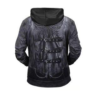 Fashion-halloween mens designer hoodie fall winter luxury 3D print leather jacket hoodies men long sleeve sweater sportwear sweatshirt