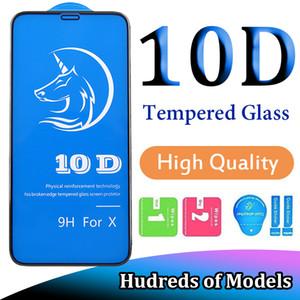 Vidrio templado de pegamento completo de alta calidad 10D 20D para iPhone 12 Mini 11 Pro MAX XS XR X 6 7 8 PLUS