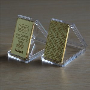 24K Gold-Plated 1 Oz Switzerland Bullion Bar CREDIT SUISSE Modern Art Crafts Commemorative Coins Collections Ornaments