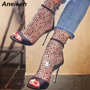 Aneikeh nuova estate glitter gladiatore Air mesh sandali sexy della donna dei pattini High Heel Peep Toe Stripper Zipper partito Thin Heels Pompe