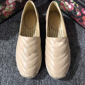 2019 El más nuevo diseñador Mujeres de cuero Lienzo alpargatas Zapatillas planas de piel de cordero genuina Zapatillas de perla Tamaño EUR35-41 con caja
