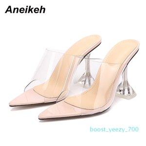 Aneikeh Pointed end Flip Flops Shoes Woman Slippers PVC peep-toe Slip-on Perspex Heel Stilettos High Heels Lady Fashion Pumps b70