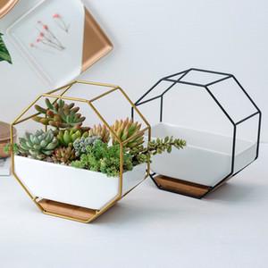 Nordic céramique Pots de fleurs géométriques Succulent Cactus mur en métal Planteur Porte-Hanging Pots de fleurs stand Cachepot Bamboo Orchid CJ191226