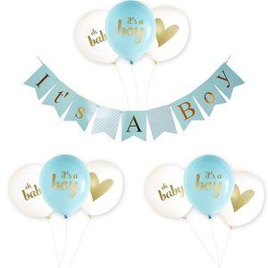 Onun Bir Oğlan Kız Bebek Duş Balonlar Kağıt Afiş Pembe Mavi Yaldız Balon Çocuk Moda Doğum Günü Partisi Dekorasyon 18 pmD1