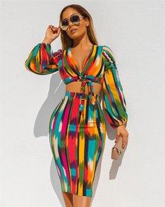 Шт платья Мода однобортный Глубокий V шеи Женская Дизайнерская футболка 2 шт платья Повседневная Женщины Одежда Цветочные печати Женская Casual 2