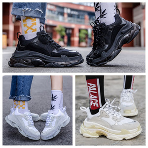 Pares 17FW Triple S Sneakers Homens Mulheres Sapatos casuais Triple S Limpar Shoe Sole Branco Verde Dad Outdoor Sports Preto do arco-íris