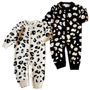 Macacão de bebê de varejo meninos meninas manga comprida de algodão leopardo macacão com capuz one-piece onesies macacões toddle infantil crianças roupas de grife