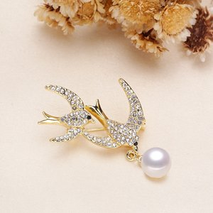 Double Swallow Korean version thick gold-plated explosive gold-plated Freshwater Pearl brooch semi-finished mount for diy free shipping