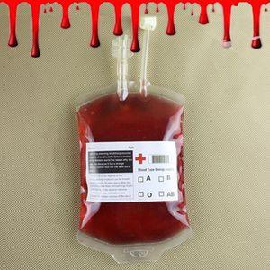 هالوين كيس الدم واضح هالوين الغذاء الصف PVC شرب حقيبة يوميات مصاص الدماء تأثيري كيس الدم الدعائم هالوين الديكور لوازم 350ML