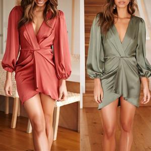 Les femmes col en V à manches longues vacances Tunique Sexy Robe Avslappnad Party Mini robe