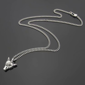 Europe America Retro Style Men Lady Women Brass Silver Plated Lovers Long Necklace With Engraved Pattern G Letter Wolf Head Pendant