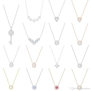 HYWo SPARKLING DC DANCE HEART Vibrant Crystal Flowers Love Hearts Star Shape Clavicle Necklace Women Jewelry Plated Rose Gold