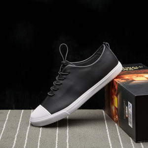 2019 Newest Spring Leather Men Casual Shoes Breathable Lace Up Men's Flat Shoes Mens Loafers Fashion Soft White Sneakers Shoes