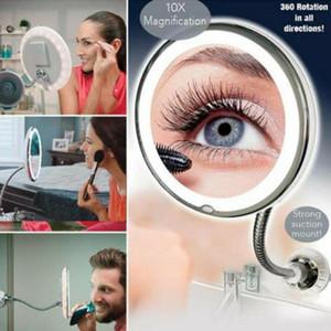 Espelho De Maquiagem flexíveis 360 graus de rotação Gooseneck 10x LED ampliação Banho Maquiagem barba 30pcs Suprimentos WC CCA11401