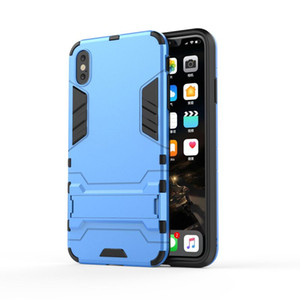 For Iphone X XS XR XS MAX TPU+PC 2 in 1 Iron armor mobile case with kickstand and free shipping