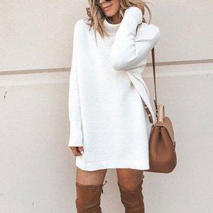 Duzeala Turtleneck Loose Winter Dress Women Autumn Long Sleeve Solid Casual Sexy Mini Dress Female T Shirt Dress MX200518
