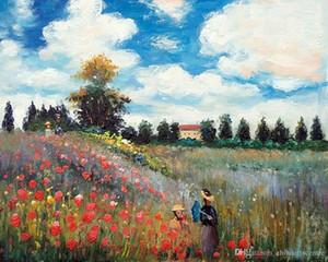 -vA. Claude Monet Yüksek Kaliteli Handpainted Soyut Sanat Yağlıboya Resim göre Argenteuil Ünlü Gelincik Tarlası Tuval On Wall Art Home Office De 75