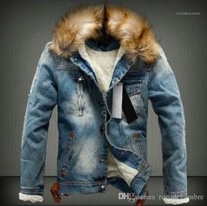 Jean ceketler Sonbahar Kalın Kürk Tasarımcı Palto Uzun kollu Tek Breasted Ceket Erkek Kış Yıkanmış