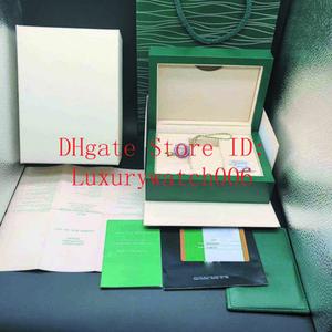 أفضل نوعية الأخضر الداكن ووتش هدية مربع الحال بالنسبة لساعات رولكس بطاقة كتيب الكلمات ورقات في اللغة الإنجليزية السويسري أعلى الساعات صناديق