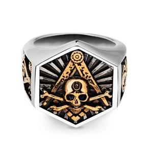 316l edelstahl freimaurer ring für mode männer hexagon schädel freimaurer totem schmuck jahrestag geschenk größe 7-14