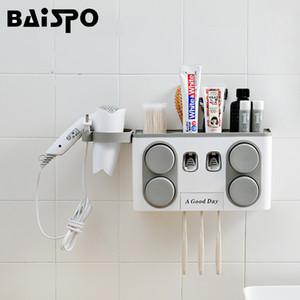 BAISPO Bagno Set Accessori Spazzolino Holder Dispenser automatico di dentifricio ventosa per montaggio a parete Bagno Storage Box SH190919