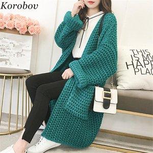 Korobov Korean V-Neck New Arrival Cardigans Auttum Long Sleeve Women Cardigan Thick Solid Pocket Female Sweater Female Top 76105 CJ191217