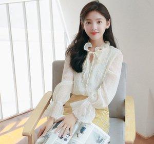 L'inizio della primavera 2020 la nuova versione coreana semplice piccola di terra corno camicia del chiffon manica fresco stile Hong Kong camicia fuoco allentata eccellente