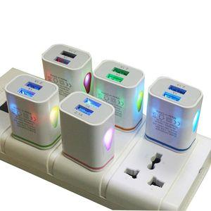 en stock 5V 2.1A Gotas de agua del LED luz de los puertos duales USB US AC enchufe de la UE del cargador de pared Auto rápidamente de carga Adaptador de corriente para el iPhone Samsung