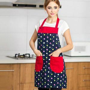 Moda senza maniche con stampa Grembiule con tasche Impermeabile femminile accessori per la cucina che cucina le donne di pulizia Grembiule a prova di olio
