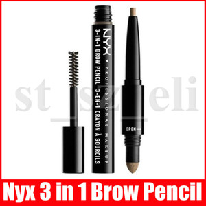 NYX 3 в 1 Карандаш для бровей для женщин водостойкий макияж Kit Auto Eye Brow Powder Brush Pen