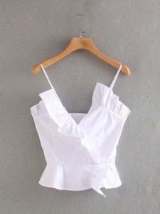 2020 Summer New Women's Solid Color white Strap Poplin zaraing women Blouse shirt vadiming sheining female shirt tops LFD9574