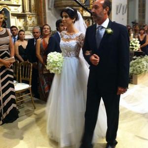 Apliques de renda A Linha De Vestidos De Noiva 2020 Boho Vestido de Noiva Até O Chão Vestido de Noiva Custom Made