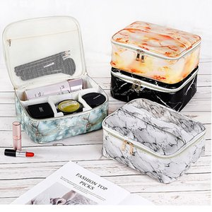 Fashion women Makeup bag Multifunction waterproof marbling portable travel storage bags PU ladies Cosmetic zipper Marble Makeup bags