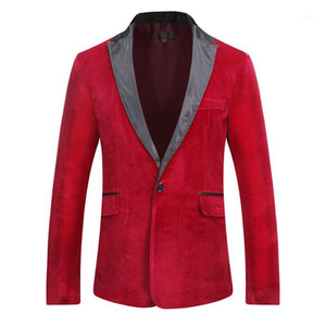 Designer Blazers Long Sleeve Single Button Solid Blazer Autumn Winter Male Apparel Panelled Suede Mens